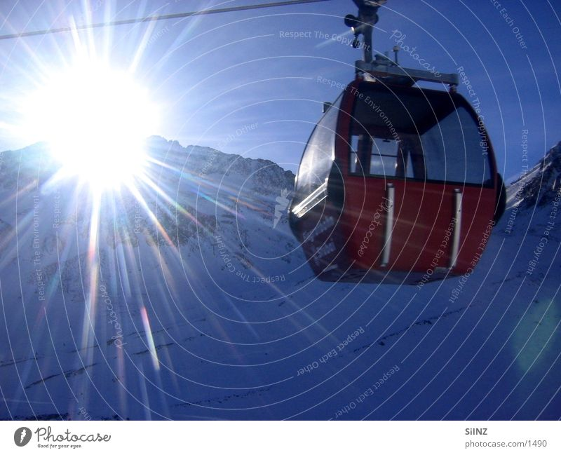Sun Winter Snow Mountain Europe Beautiful weather Radiation Austria Gondola Cable car Luminosity Blooming