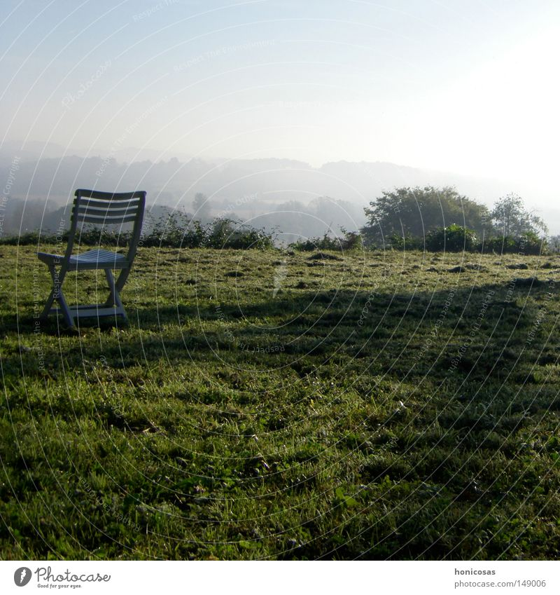 haze Armchair Chair Folding chair Camping chair Backrest Fog Haze Vantage point Shadow Meadow Grass Lawn Bushes Clouds Loneliness Calm Autumn France