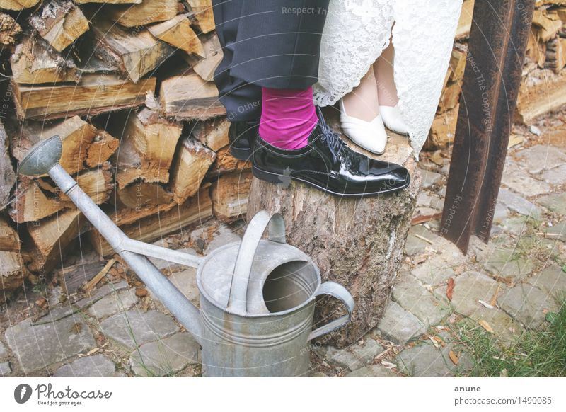 Bridal couple feet on wood on watering can Wedding Woman Adults Man Couple Partner Footwear Watering can Wood Joie de vivre (Vitality) Trust Safety (feeling of)