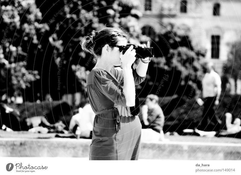 Two looks ahead Paris Pregnant Woman Park Black & white photo take a photograph Camera