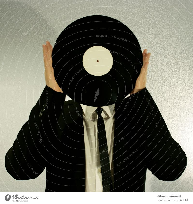 vinyl head Disc jockey Record Suit Work and employment Lie Rotate Shirt Businesspeople Music Hand Round Man Sound Stereo Mono Beat Gray Clothing Head Face