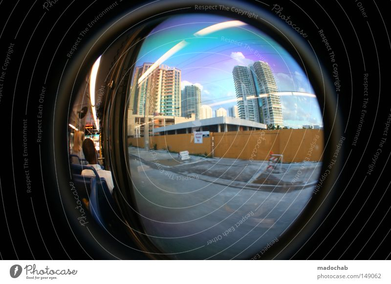Window High-rise Transport Driving USA Logistics Vantage point Transience Americas Fisheye Passenger Shop window