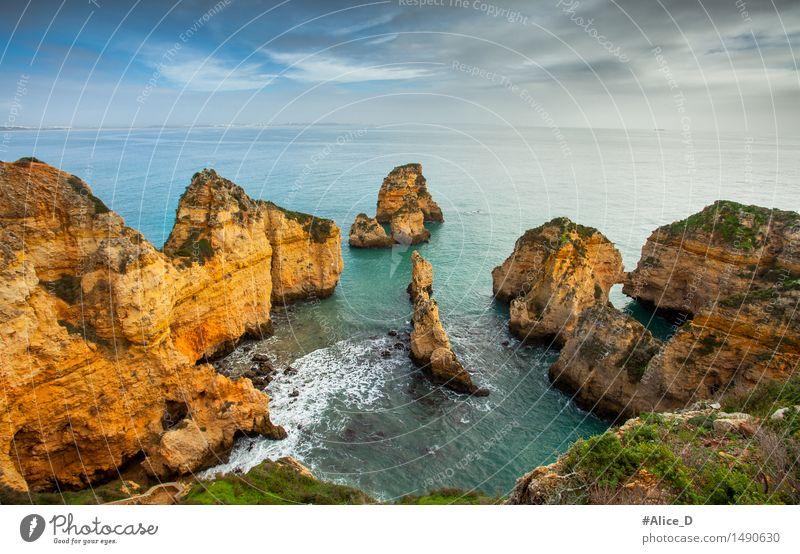 Algarve coast south Portugal Environment Nature Landscape Elements Sand Water Sky Horizon Rock Waves Coast Beach Bay Ocean Atlantic Ocean rocky coast Lagos