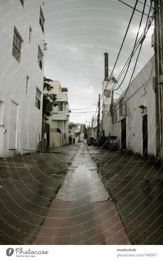Clouds Loneliness Street Dark Rain Weather Fear Facade Wet Broken USA Asphalt Derelict Storm Shabby Thunder and lightning