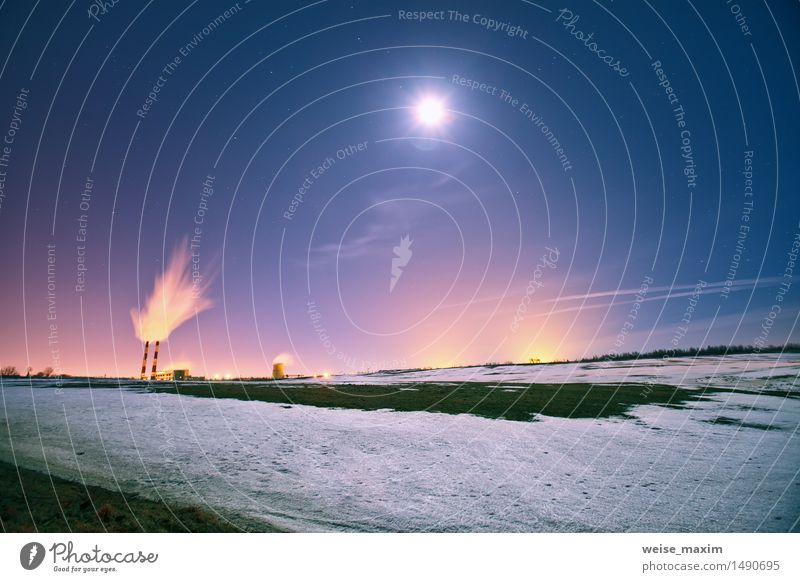 Power plant in the night Winter Snow Lamp Factory Industry Landscape Plant Sky Night sky Stars Moon Meadow Field Small Town Building Tube Blue Yellow Pink Black