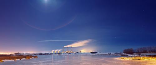 Power plant in the night Sky City Plant Blue Water White Landscape Winter Yellow Street Snow Grass Building Lake Lamp Horizon