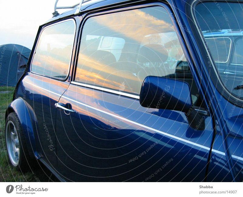 Mini Sunset Vintage car Mirror Transport Small Cooper Dusk Sky