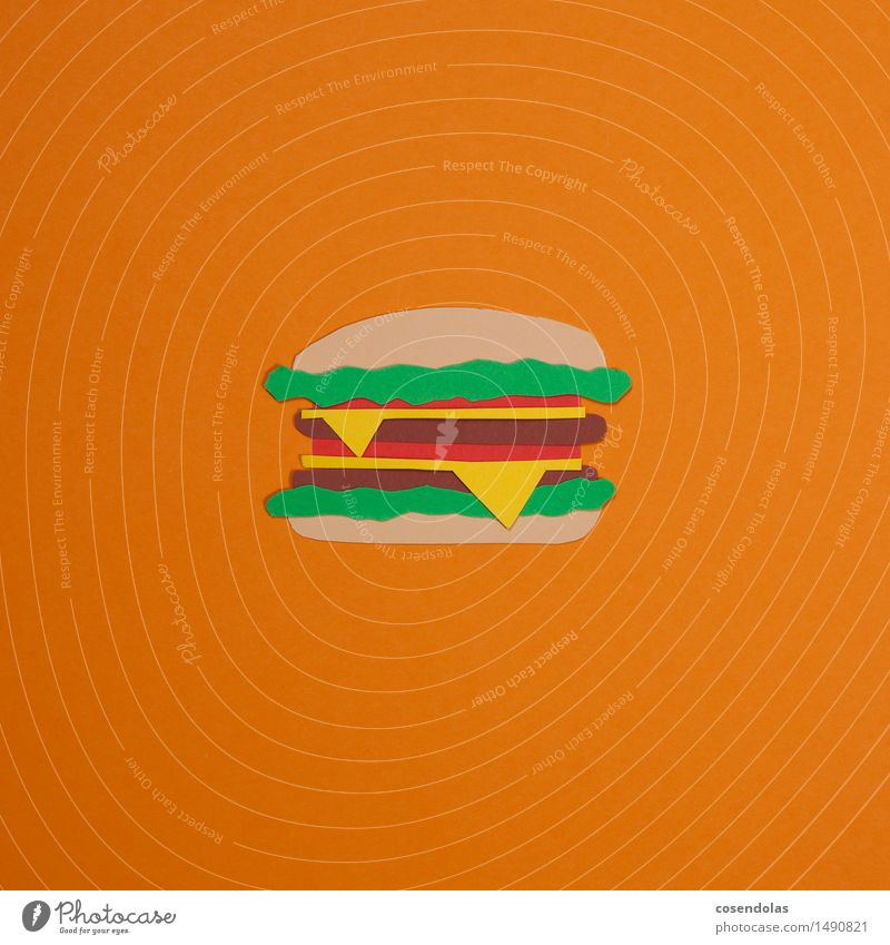 hamburger Food Meat Roll Nutrition Eating Lunch Dinner Fast food Diet Orange Vice Hamburger Multicoloured Studio shot Deserted Copy Space left Copy Space right