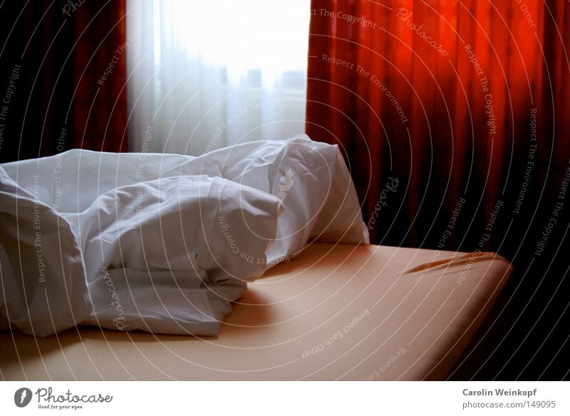 Hotel. Bed Drape Curtain Morning Wake Arise Mattress Sheet Blanket Wrinkles Room Location Light Shadow Hotel room Oversleep hotel bed Dawn rumpled Plümmo quilt