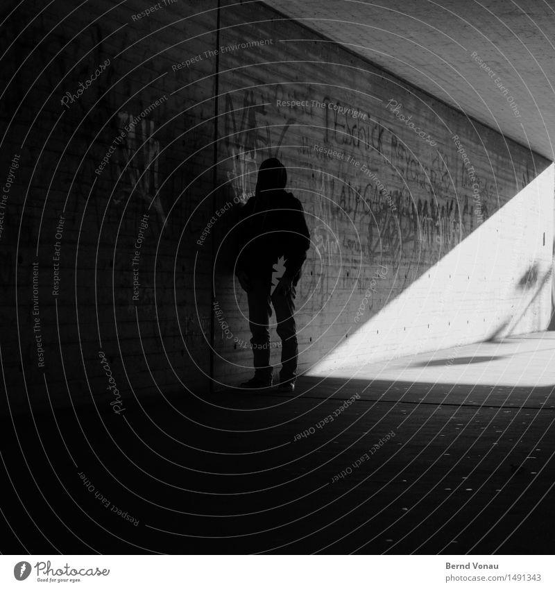 warp corner Human being Masculine Man Adults 1 45 - 60 years Dark Sadness Meditative Threat Stagnating Hooded (clothing) Ambush Z Line Geometry Graffiti