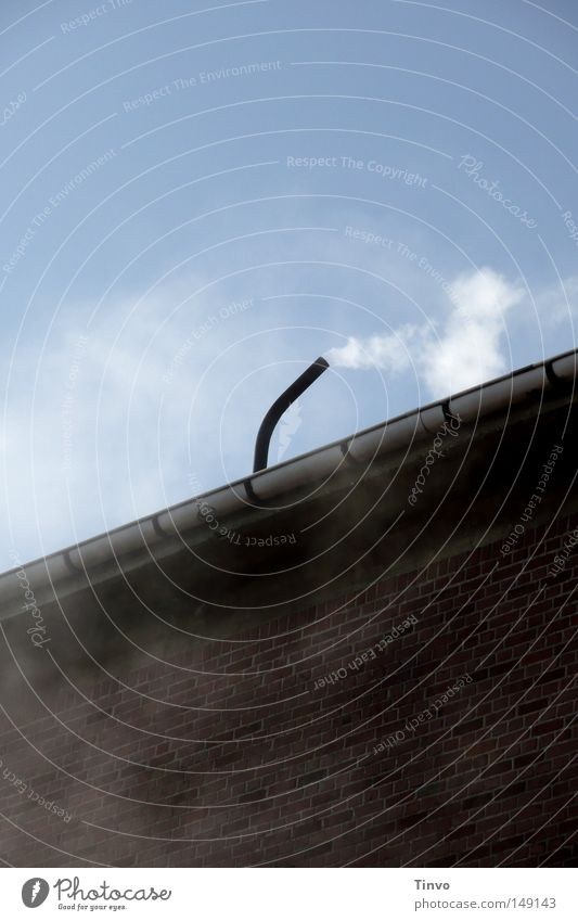 Sky Blue Clouds Black Wall (building) Above Gray Wall (barrier) Wind Fog Roof Industry Factory Brick Smoke Pipe