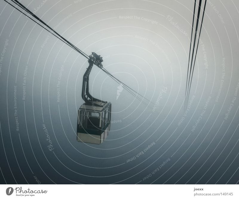 uncertainty Fear Wire Wire cable Dark Expectation Driving Gray Height In the plane Wasted journey Fog Covering of fog Panic Cable car Rope Steep Infinity