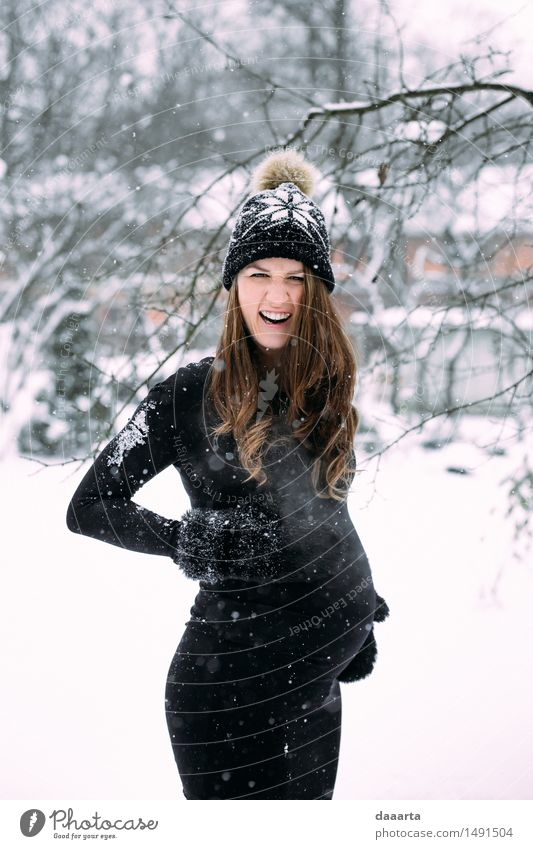 amazed with snow Youth (Young adults) Beautiful Young woman Joy Winter Adults Warmth Life Snow Feminine Lifestyle Freedom Party Design Wild Leisure and hobbies