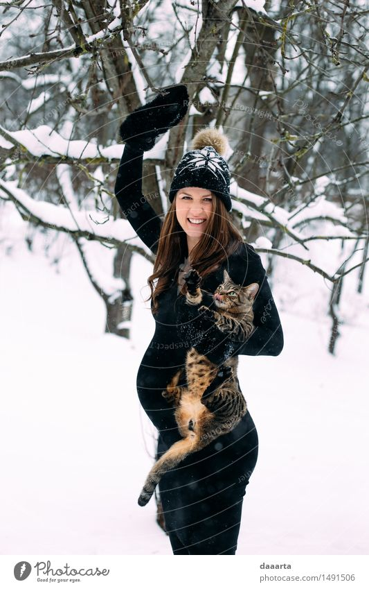 mom with a cat Cat Youth (Young adults) Young woman Joy Winter Adults Life Emotions Snow Feminine Style Playing Lifestyle Freedom Moody Wild