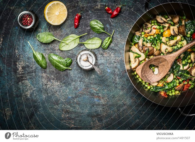 Healthy Eating Life Dish Food photograph Style Background picture Design Nutrition Table Cooking & Baking Herbs and spices Kitchen Vegetable Organic produce