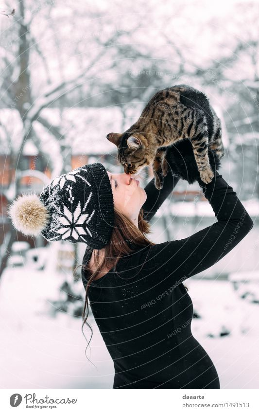 loving the cat Cat Youth (Young adults) Young woman Relaxation Joy Winter Adults Warmth Life Snow Feminine Playing Lifestyle Freedom Design Wild