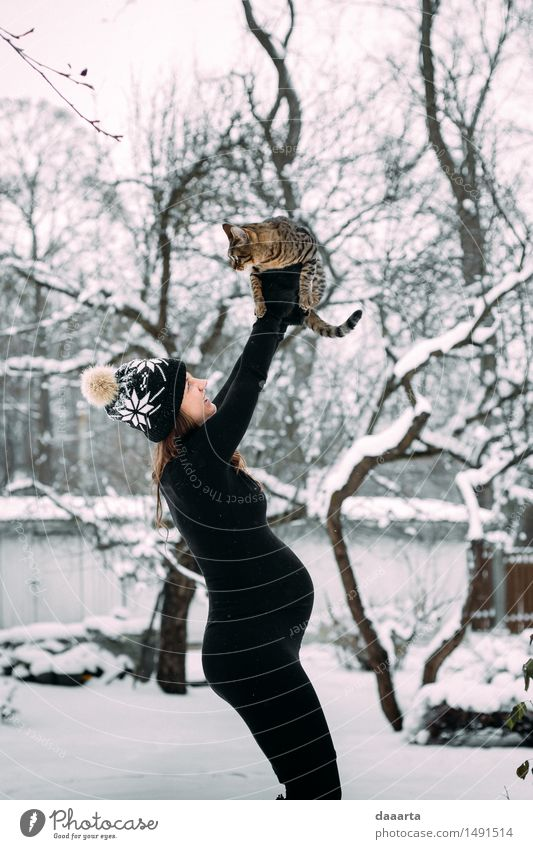 simba moment Cat Nature Youth (Young adults) Young woman Relaxation Joy Winter Adults Life Emotions Snow Feminine Style Playing Lifestyle Freedom