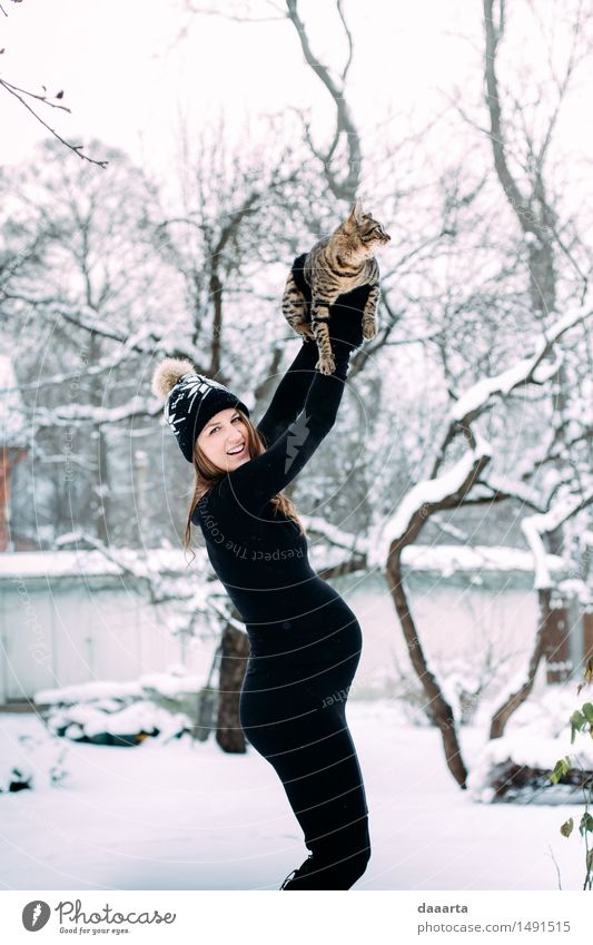 happy & cat Cat Youth (Young adults) Young woman Relaxation Joy Winter Adults Life Funny Snow Feminine Style Playing Lifestyle Freedom Wild