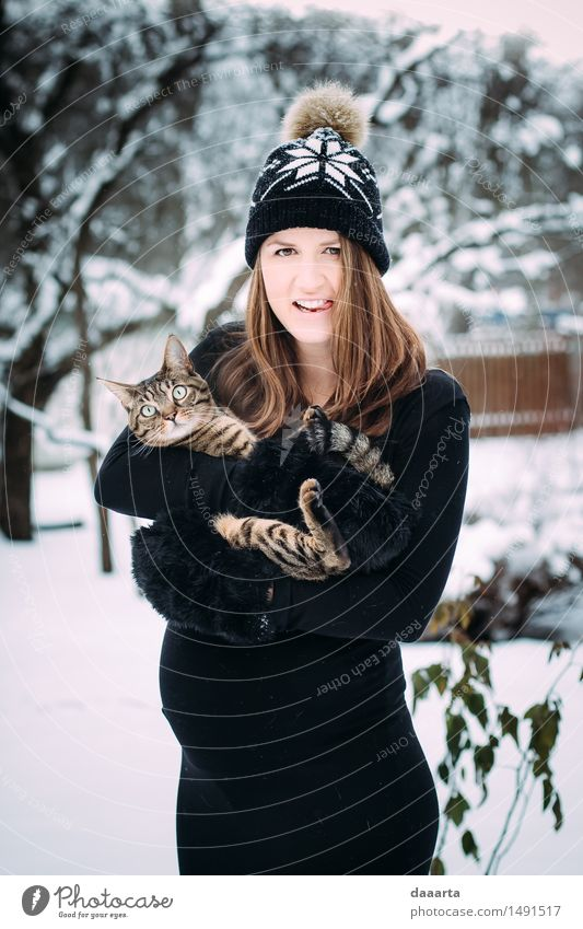 crazy cat mom Cat Youth (Young adults) Young woman Joy Winter Adults Warmth Life Emotions Snow Feminine Style Playing Lifestyle Feasts & Celebrations Wild