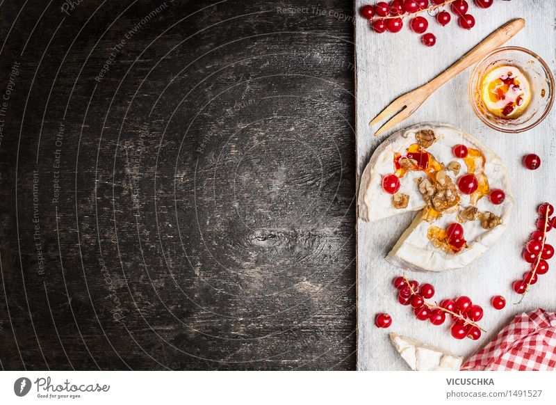 Camembert with berries and sauce on a rustic background Food Cheese Fruit Dessert Nutrition Breakfast Dinner Buffet Brunch Organic produce Vegetarian diet Bowl