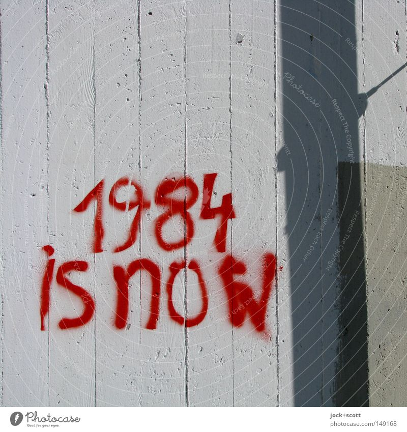 banner 1984 Future Information Technology Internet Street art Wall (building) Concrete Stripe Word Threat Might Lack of inhibition Creativity Politics and state