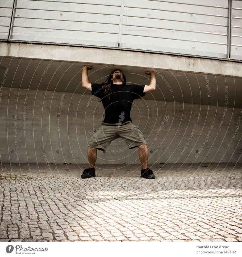 Sports Architecture Man Power Funny Human being Concrete Force Tension Hero Effort Joke Dreadlocks Funster Boast