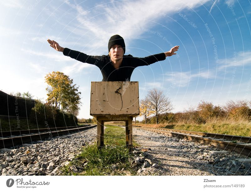 fly away Beginning Railroad tracks Sky Summer Physics Sun Clouds Cap Man Masculine Black Style Easygoing Freedom Relaxation Green Tree Autumn Commuter trains