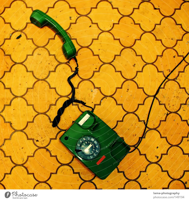 Old Green Yellow Colour To talk Design Telephone Retro Communicate Cable Floor covering Telecommunications Lie Digits and numbers Wallpaper String