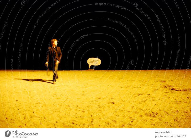 my moon, my man, my balloon Beach Moon Style Speech bubble Barcelona Action Man Dark Ocean Sand Ground Black Yellow Coast Signage