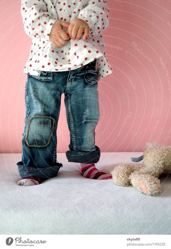 raspberry blue Child Toddler Girl Headless Striped socks Pink Bed Toys Hare & Rabbit & Bunny Beautiful Hand Jeans Blouse Blue Cot Cuddly toy Soft Pelt Felix Lie