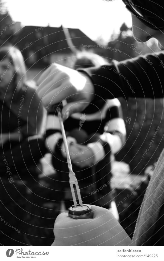 corkscrew Fondue Outdoor festival Autumn Cork Friendship Zurich Black & white photo fondue fork To pop the corks