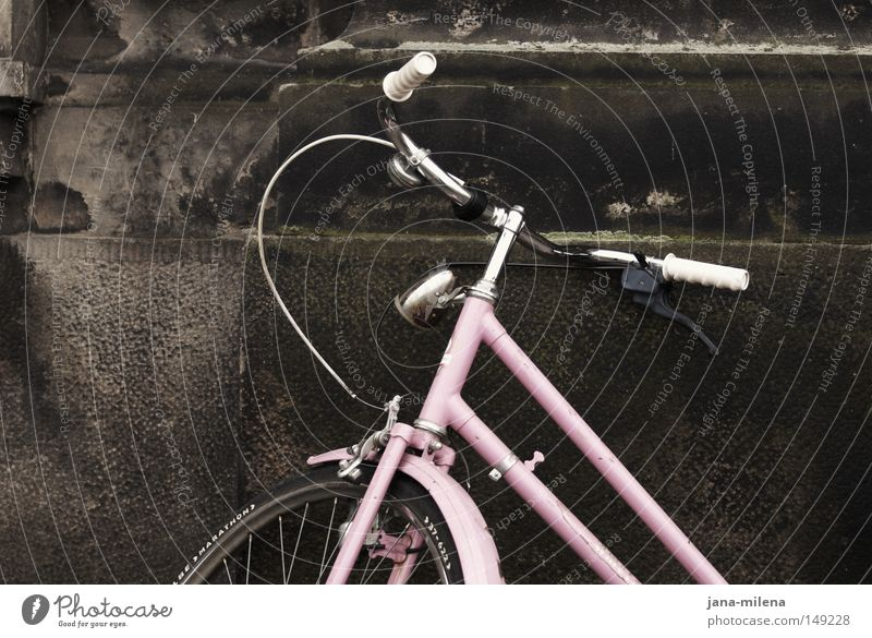 Be right with you. Bicycle Wheel Tire Driving Come Going Speed Movement Means of transport Pink Nostalgia Old Old fashioned Old-school Wall (building)