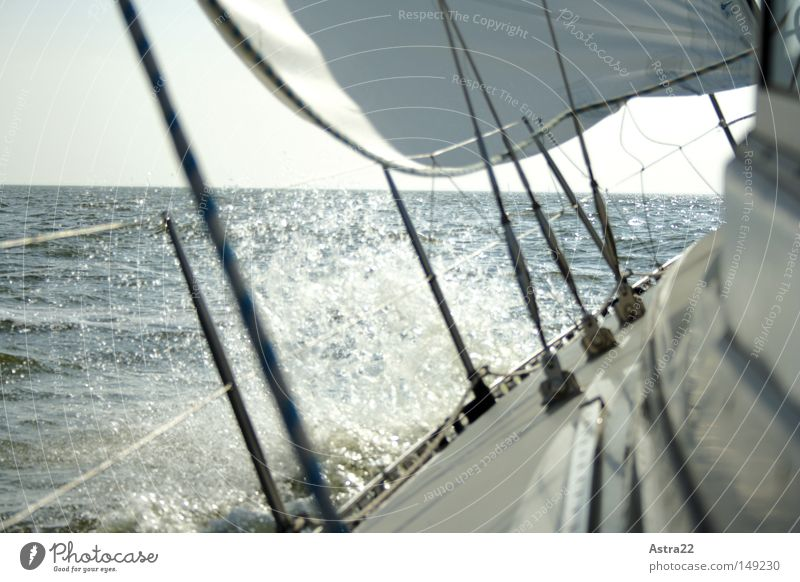 swell Far-off places Sun Ocean Aquatics Sailing Rope Water Drops of water Sky Clouds Autumn Beautiful weather Wind Sport boats Yacht Sailing ship Watercraft