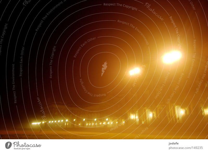 fog lights Light Castle Fog Bright Lighting Radiation Glimmer Event lighting Lamp Lantern Haze Physics Warmth Night Night shot Long exposure Places New Palace