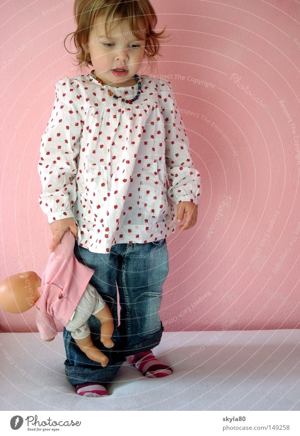 oblivion of time Child Toddler Girl Blouse Striped socks Pink Cot Toys Think Face Looking Jeans Blue Children's room To hold on Posture Kiddy fashion