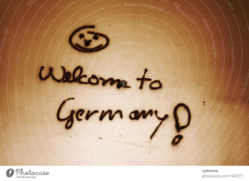 Welcome to Germany! Novella Background picture Legacy Derelict Vacancy Building Vandalism Emotions Wall (building) Dark Spray Typography Meaning Irony Sarcasm
