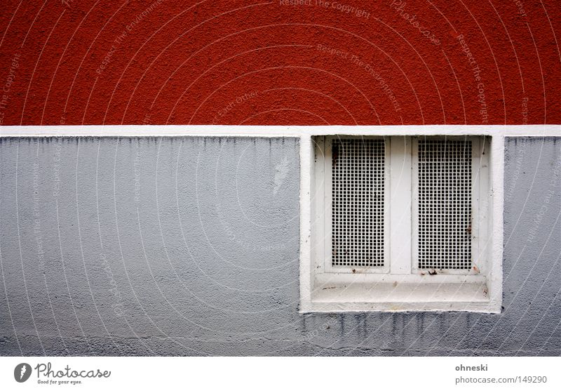 cellar window Wall (building) Cellar Window Cellar window Line Red White Gray Graphic Damp Colour Painting (action, work) Canceled Facade