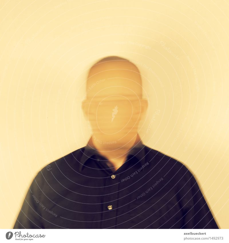 unknown self Human being Masculine Man Adults 1 30 - 45 years Bizarre Identity Whimsical Surrealism Anonymous Unrecognizable Faceless Self portrait Colour photo