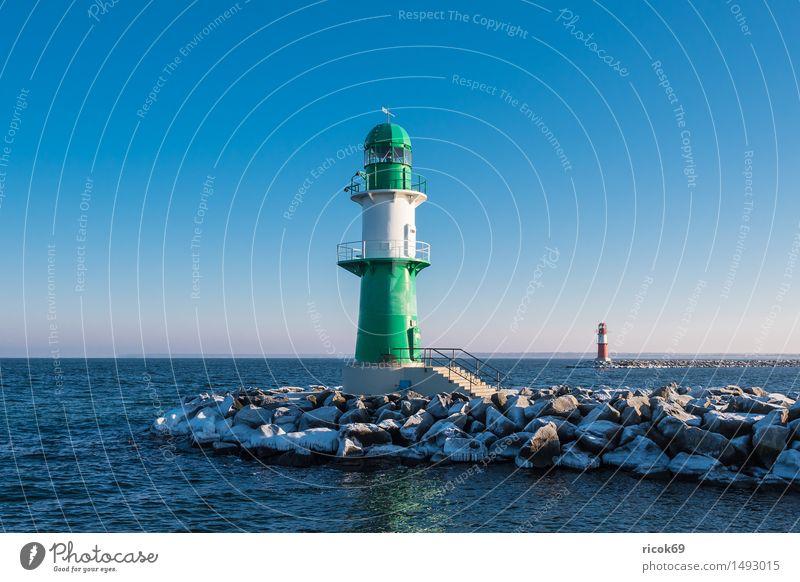The pier in Warnemünde in winter Vacation & Travel Ocean Winter Nature Landscape Water Coast Baltic Sea Lighthouse Architecture Tourist Attraction Landmark