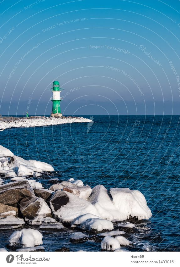 The pier in Warnemünde in winter Vacation & Travel Tourism Ocean Winter Nature Landscape Water Coast Baltic Sea Lighthouse Architecture Tourist Attraction