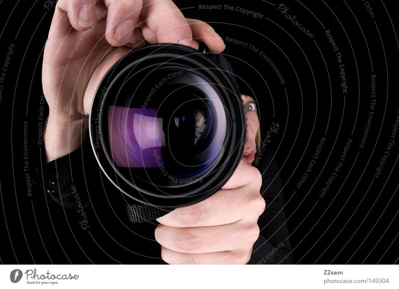 i turn my camera on Camera Photography Fisheye Motionless Posture Man Masculine Retro Black Hand Looking Workshop Reflection Glittering Violet Tourist Near