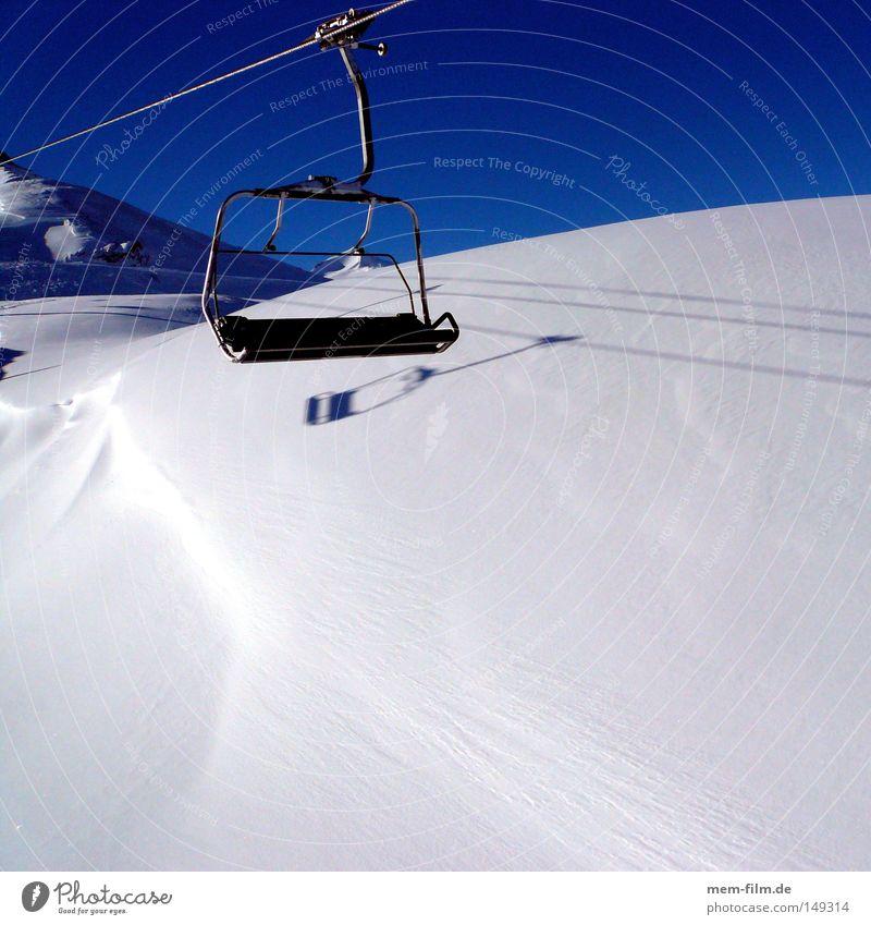 tv armchair Skis Armchair Chair lift Ski lift Cable car Ski run Ski piste Winter vacation Vacation & Travel Sky Blue Beautiful weather Blue sky December January