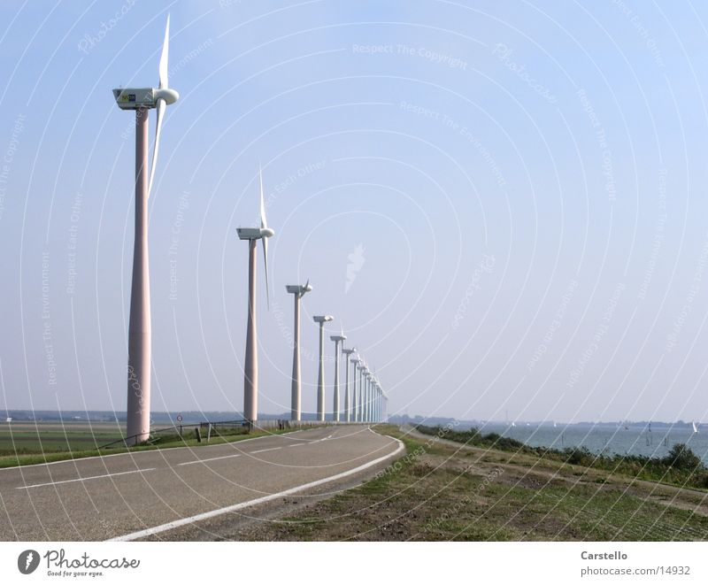 Alternative Energies Wind energy plant Netherlands Ocean Electricity Summer Entertainment Energy industry Dynamic optics