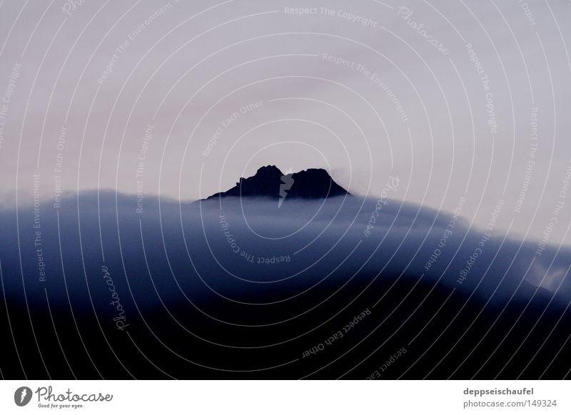 burn the old Alps Calm Dusk Fog Evening Clouds Shroud of fog Mountain