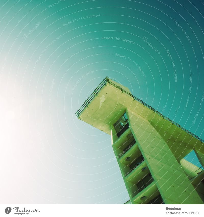Jump! Architecture Detail Line Diagonal Blue Green Modern Tall Height Platform Sky Beautiful weather Concrete Large Perspective Under Above High-rise Story
