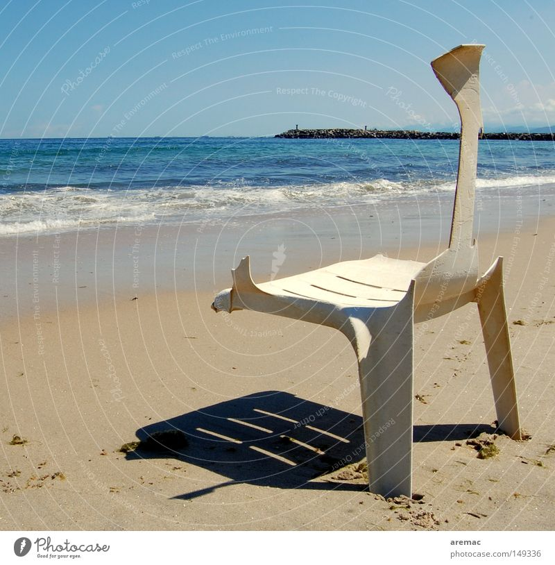 package holiday Vacation & Travel Beach Ocean Water Summer Chair Sand Waves Broken Destruction Shadow Safety Coast