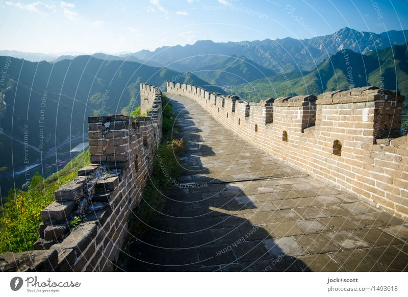 big wall Far-off places World heritage Cinese architecture Landscape Cloudless sky Beautiful weather Mountain China Tourist Attraction Landmark Great wall