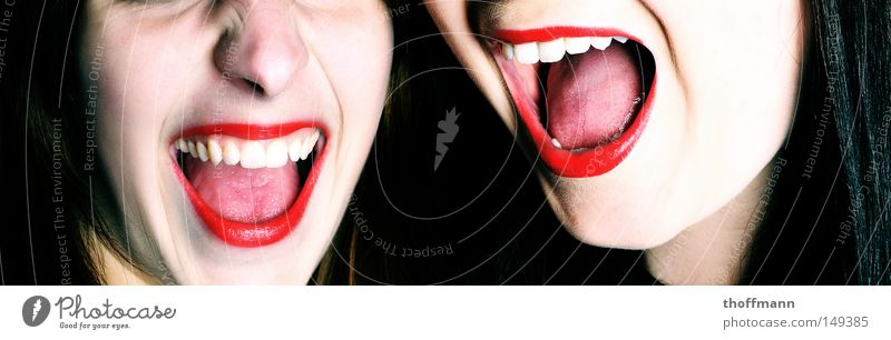 Shout it out loud!!! Red Lipstick Mouth Make-up Write Squeak Scream Creepy Wearing makeup Feminine Delicate White Fear Panic Woman Tongue Pallid Teeth