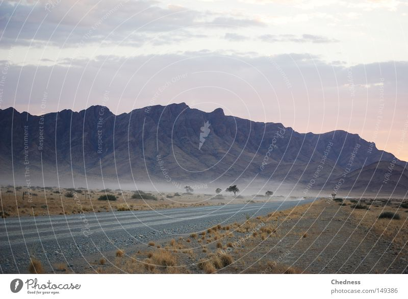 desert Fog Morning Twilight Namibia Africa Street Boredom Gloomy Badlands Mountain Silhouette Desert Earth Sand