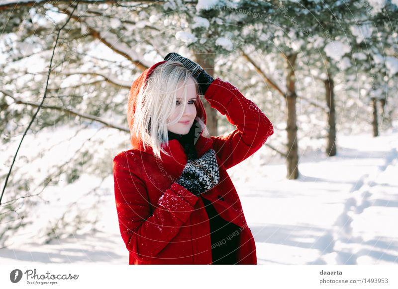 Winter dreams Lifestyle Elegant Design Joy Harmonious Relaxation Leisure and hobbies Trip Adventure Freedom Sightseeing Snow Feminine Coat red coat Gloves